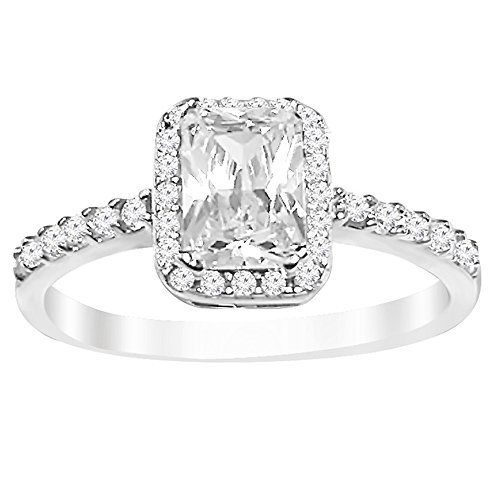 [Sterling Silver Emerald Cut Cubic Zirconia Halo Engagement Ring (8)] (Emerald Cut Cubic Zirconia Ring)