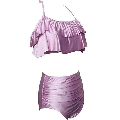 Vita Per Costume E Alta A Due Figlia Qunlei Bikini Bagno Mamma Viola Completo Da Pezzi YxEE7TS