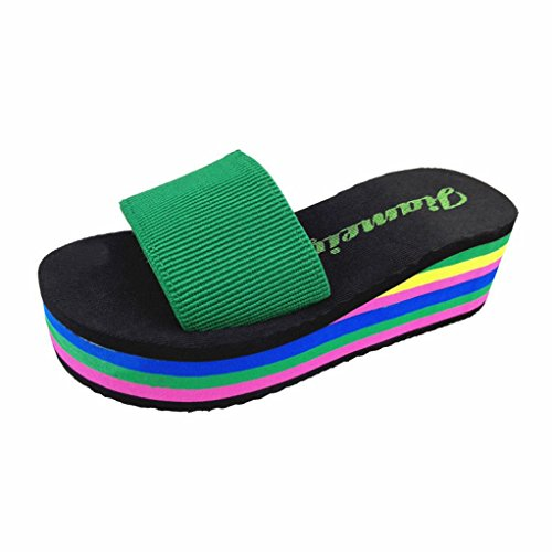 Owill Women Rainbow Summer Non-Slip Sandals Peep Toe Beach Slippers 1pair (Green, 36)