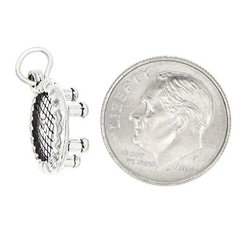 Sterling Silver Single 3d Trampoline Charm Pendant