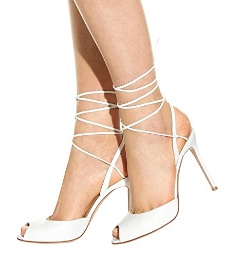 Kolnoo Damen Handgefertigte High Heels Lace-up Peep Toe Sommer Sexy Party Prom Sandalen White