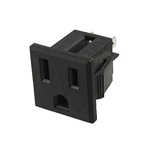 - uxcell US Plug AC 125V 15A Panel Mount Outlet Power Socket Black