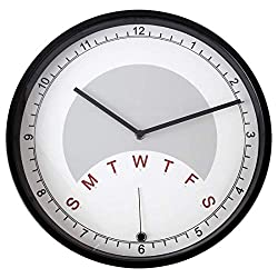 Lily's Home Day Clock Wall Clock Indicating Day of The Week | A Fun Retirement Gift - Large 13 3/4 Inch Diameter (Black)