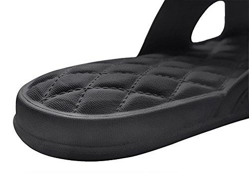 Pantoufle Homme Femme Été Sandales Piscine Chaussure Plage Chaussons de Natation Sandales de Douche Chaussons Antidérapant Pantoufles Souples Chaussons Unisexe pour la Maison Salle de Bain Gym Noir FjaMD