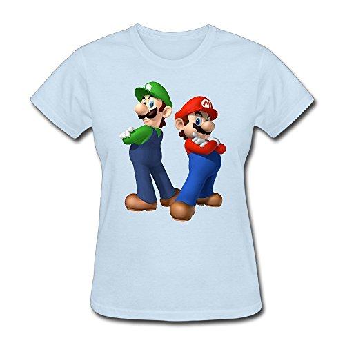 ZHUYOUDAO Super Mario Luigi Shirt For Women SkyBlue S