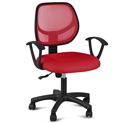 Topeakmart Adjustable Swivel Computer Desk Chair with Arms Seating Back Rest Fabric Mesh (Red) Review