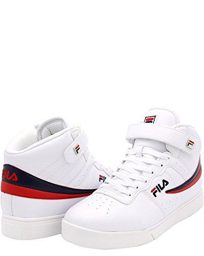 Fila White Shoes - Fila Men's Vulc 13 MID Plus 2 Walking Shoe, White Navy red-150, 8.5 D US