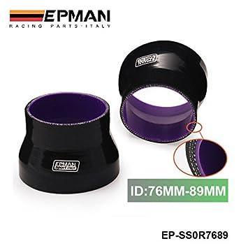 "Negro 3 ""-3.5"" 76 mm-89 mm Turbo ingesta de silicona"