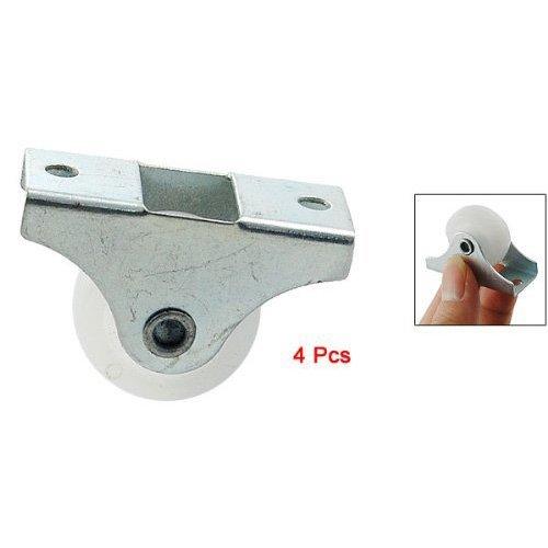 SODIAL(R) 4 Pcs White Plastic 25mm Diameter Furniture Replacement Caster Wheel