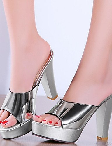 Shoes ShangYi Leather Silver Dress Silver Heel Customized Patent Mules Heels Clogs Chunky Platform amp; Materials Women's wwTrqCa54