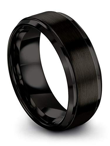 Chroma Color Collection Tungsten Carbide Wedding Band Ring 8mm for Men Women Black Interior with Black Exterior Step Bevel Edge Brushed Polished Comfort Fit Anniversary Size 7.5 ()