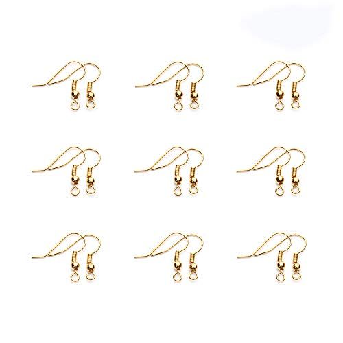 CUGBO 800 Pcs Stainless Steel Earring Hooks with Ball and Coil Hypo-allergenic Ear Wire Fish Hooks for DIY Jewelry Making (Gold)