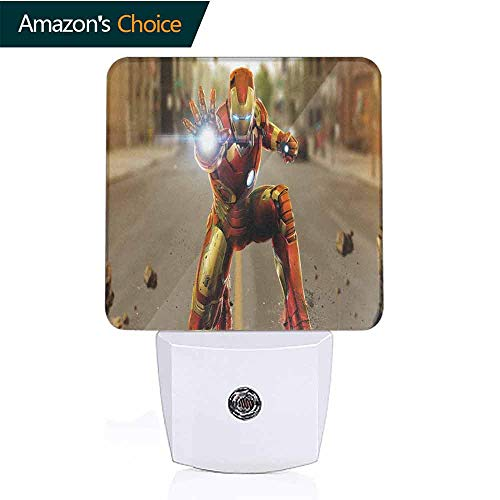 OriginalSun LED Night Light with Dusk-to-Dawn Sensor for Bedroom Avengers Age of Ultron Iron Man Artwork (The Avengers Age Of Ultron Trailer 1)