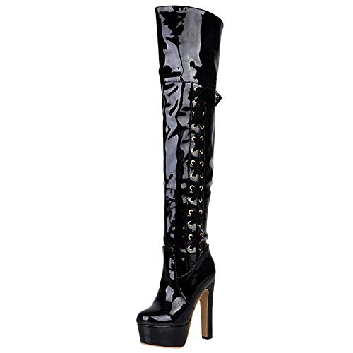 Club Black Taoffen Boots Women Platform The Over Knee HqwTfZw1