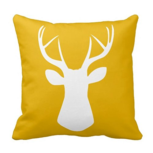 Woodland Deer Head Throw 18x18 pillow Case In Mustard Yellow