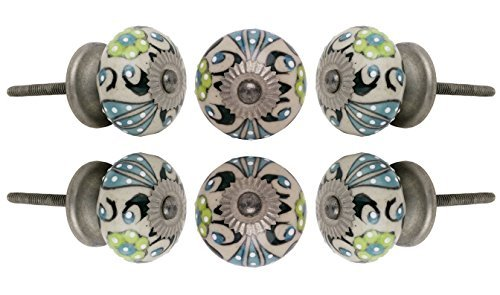 Set of 6 Round Ceramic Talid Knob Antique Chrome Finish Kitchen Cabinet Cupboard Door Knobs Dressser Wardrobe and Drawer Pull By Trinca-Ferro by Trinca Ferro