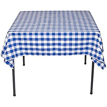 LinenTablecloth 54 Inch Square Polyester Tablecloth Blue U0026 White Checker