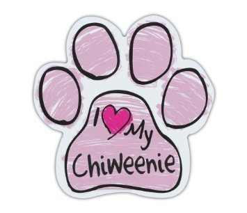 Lancy's Artwork Pink Scribble Paws: I Love My Chiweenie, Dog Paw Shaped Car Stickers - Sticker Graphic - Auto, Wall, Laptop, Cell, Truck Sticker for Windows, Cars, Trucks, Tool Boxes, laptops (Scribble Autos)