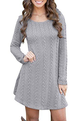 YMING Ladies Casual Jumper Top Elegant Sweater Dress Solid Color Jumper Top Grey S ()
