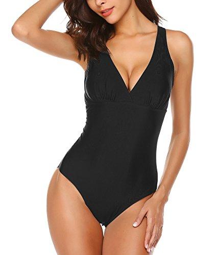 Ekouaer Womens Swimsuit Elegant Inspired Vintage One Piece Pin up Monokinis Swimwear(FBA)