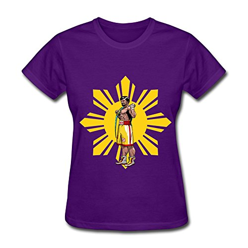 LVHUAN Womens Pac Man Pacquiao T-shirt Size L Purple
