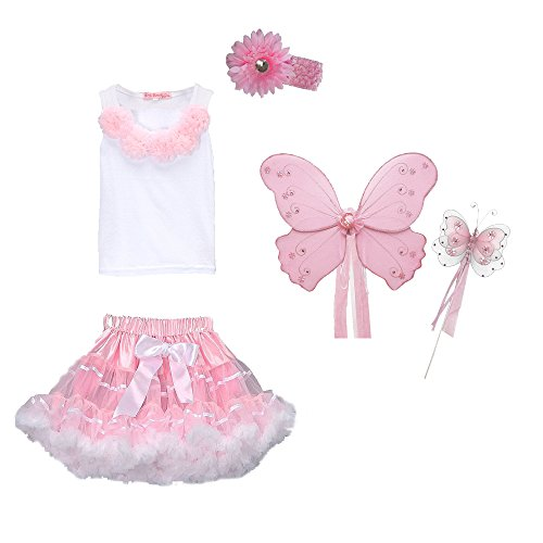 [Fairy Princess Costume - Wings, Wand, Tutu, Top Halloween Dress Up (3/4 Pink)] (Top Five Halloween Costumes)