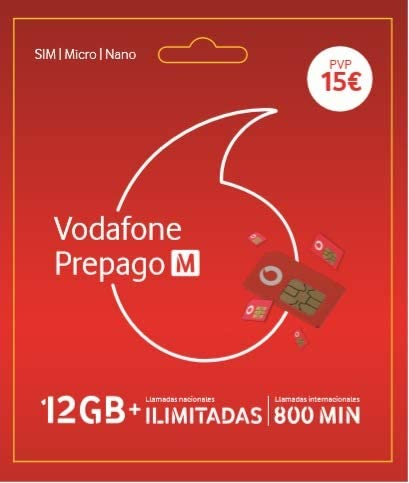 Vodafone Prepago M 22GB (12GB+10GB Gratis)+ Llamadas ilimitadas ...