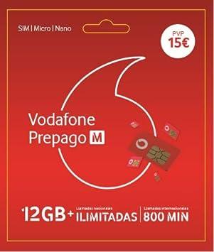 Vodafone Prepago M 12GB + Llamadas ilimitadas Nacionales (800 min internacionales) Roaming Europa EEUU: Amazon.es: Electrónica