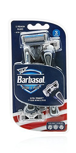 Barbasol Premium Disposable Ultra 6 Razor, 3 Count, (Pack of 2)