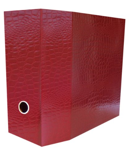 Aurora Recycled D-ring Binder - Aurora GB PROformance II Storage Binder, 5 Inch D-Ring, 8 1/2 x 11 Inch Size, Red, Croc Embossed, Eco-Friendly, Recyclable, Made in USA (AUA11299)