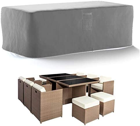 HBCOLLECTION Transpirable Funda para Mesa de jardín Gris (196x114 H72cm): Amazon.es: Jardín