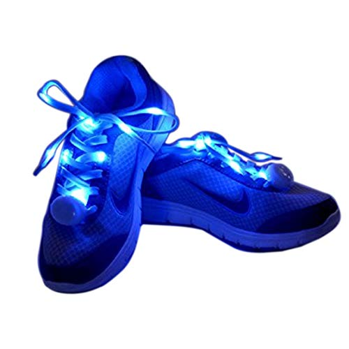 Flammi LED Nylon Shoelaces Light Up Shoe Laces with 3 Modes Disco Flash Lighting The Night for Party Hip-hop Dancing Cycling Hiking Skating Type C (Blue)]()