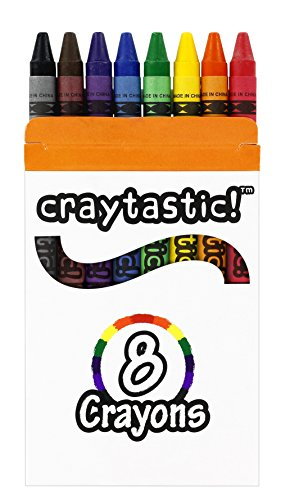 Wholesale Crayon - Craytastic! Bulk Crayons, 30 Individual Boxes of 8 colors/count Class Pack - Full Size, Premium (Red, Yellow, Green, Blue, Purple, Brown, Black) SAFETY TESTED COMPLIANT WITH ASTM D-4236