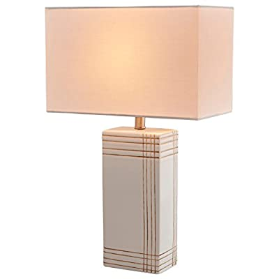 "Rivet Modern Gold Criss-Cross Striped Ceramic Table Lamp, 21"" x 13"" x 13"" , White - Gold-toned horizontal and vertical lines criss-cross this white ceramic table lamp for a modern art feel. The block base is matched with a white rectangular fabric shade, making this a handsome accent piece for a living area or bedroom. 13""W x 13""D x 21""H Ceramic base, metal socket and fabric shade - lamps, bedroom-decor, bedroom - 41FM6CUyHTL. SS400  -"
