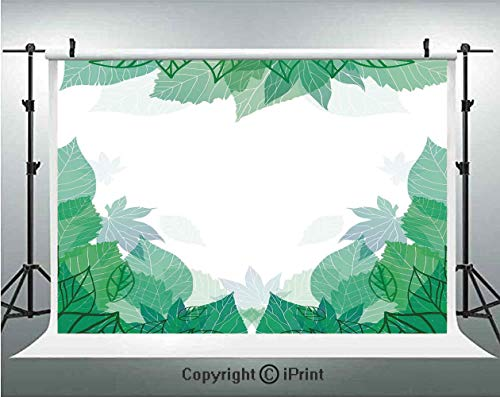 Mint Photography Backdrops Tropical Green Leaves Wildlife Botanical Fern Leaf Bush Field Forest Illustration Art,Birthday Party Background Customized Microfiber Photo Studio Props,5x3ft,Jade Green ()