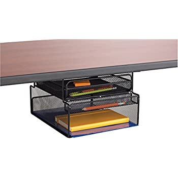 Safco Products 3244BL Onyx Mesh Mountable Hanging Desk Storage, Black