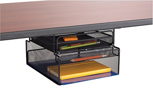 Safco Hanging - Safco Products 3244BL Onyx Mounted Under-Desk Hanging Storage, Convenient Organization, Ideal for Sit-Stand Workstations, Black