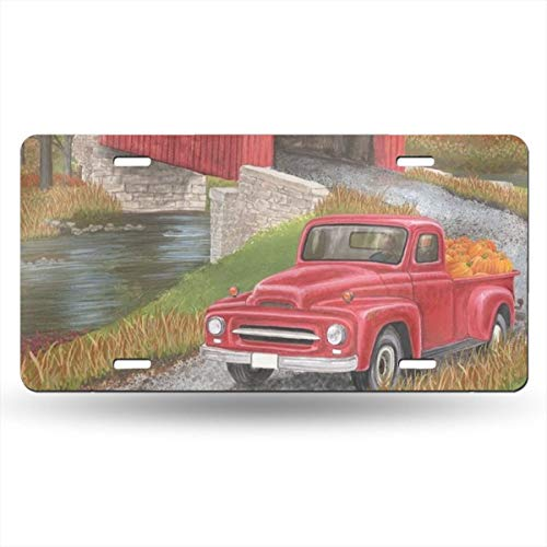 - Autumn Bridge Garden Flag Fall Pickup Truck Covered Bridge Novelty Design Metal License Plate Tag Sign 6