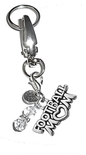 Hidden Hollow Beads Charm Key Chain Ring, Women's Purse or Necklace Charm, Comes in a Gift Box! (Football -