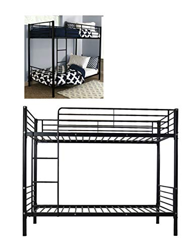 Prettyshop4246 Metal Bunk Bed Two Twin Over Lower Upper Furniture Bedroom Bed Frame Home Condo Kid Guest Step Ladder Sturdy Interior for Your Baby Love Bedding Size Twin 78 x 42 x 65 Inch