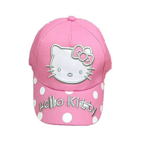 Hello Kitty Children's Pure Cotton Hat, Baseball Cap, Cartoon Bend Along The Cap. (Pink)