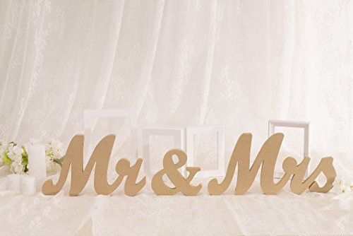 Vintage Style Wooden Mr & Mrs Letters Sign DIY Decor for Wedding Decoration Table Decor Wedding Gift]()