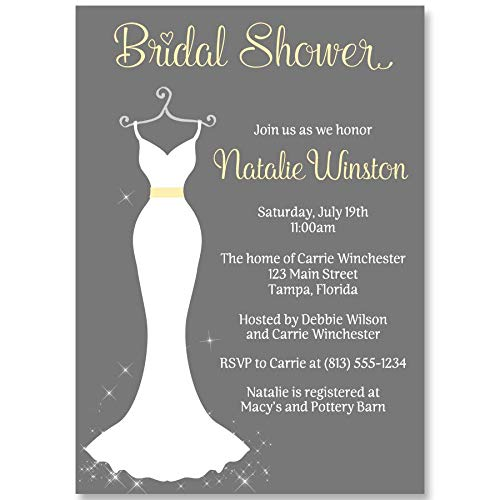 Wedding Dress, Bridal Shower Invitations, Wedding Shower Invites, Elegant Gown, Gown, Gray, Yellow, Grey Chic, Modern, 10 Pack Custom Printed Invites with White Envelopes