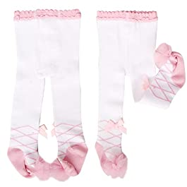 2-Pack Princess Baby Girls Bow Lace Pantyhose Leggings Tights Stockings Socks