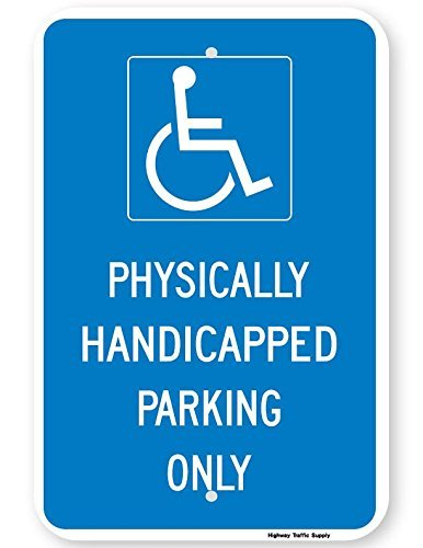 Physically Handicapped Parking Only Sign 3m High Intensity Grade Prism.Atic Reflective Blue On White 18