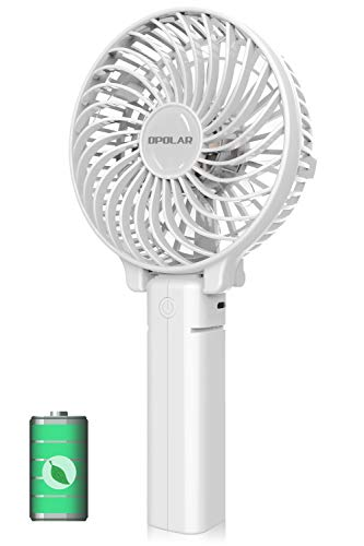 OPOLAR Small Hand Held Battery Operated USB Fan, Personal Portable Rechargeable Fan with 2200mAh Battery and 3 Settings for Travel Home Office and Outdoor Use - ()
