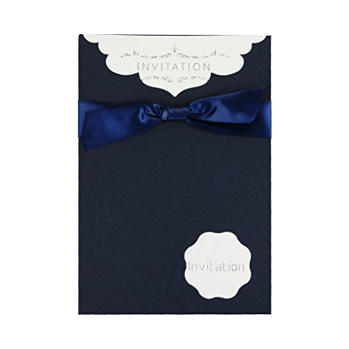 (10 Pack Party Invitation and Envelopes Kit for Birthday Party Wedding Bridal Shower Graduation,Ribbon Bowknot RSVP Card Envelopes with Name,Place,Date and)