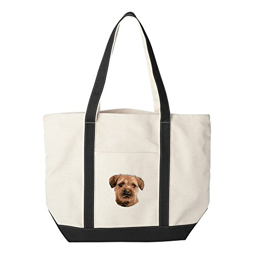 (Cherrybrook Dog Breed Embroidered Canvas Tote Bags - Black - Border Terrier)