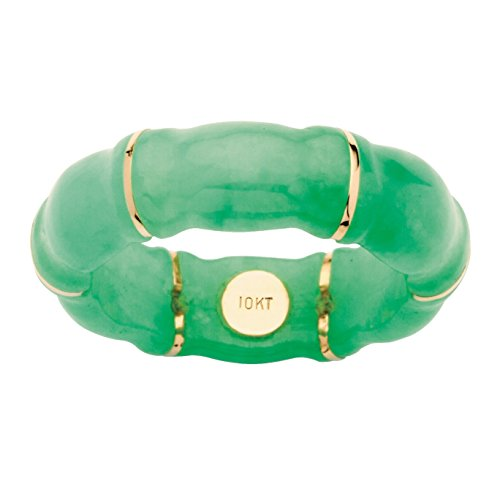(Green Genuine Jade Bamboo Ring with 10k Yellow Gold Accents)