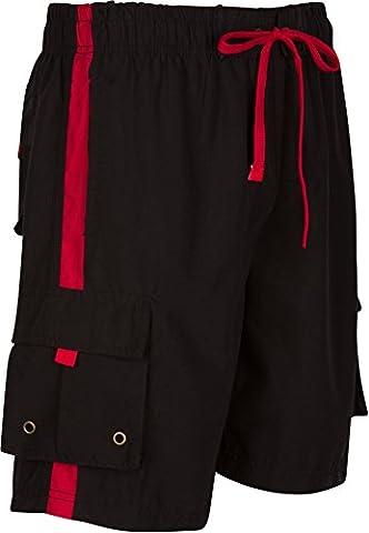 Sakkas S8113B Mens Solid Color with Contrast Stripes Skate Surf Board Short / Swim Trunks - Black / Red / (Sakkas 3x)
